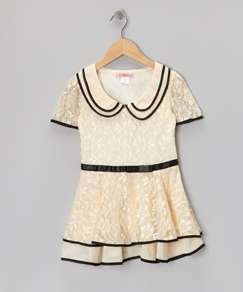 Off-White & Black Floral Lace Collar Dress - Toddler & Girls