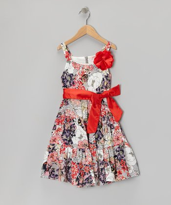 Gray & Red Floral Sash Dress - Toddler & Girls