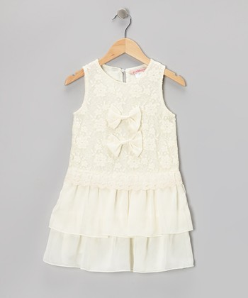 Off-White Lace Double Bow Dress - Toddler