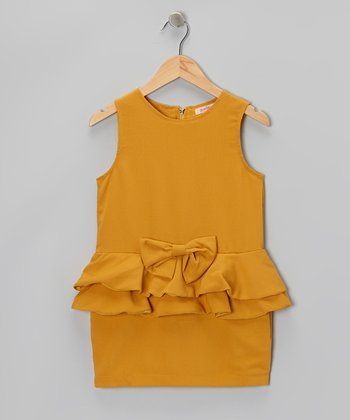 Mustard Bow Drop-Waist Peplum Dress - Girls