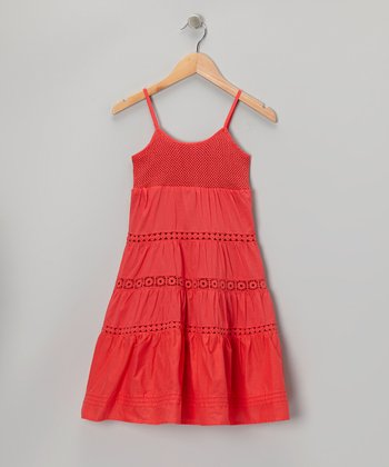 Watermelon Eyelet Tiered Dress - Toddler & Girls