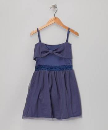 Navy Crocheted Bow Dress - Toddler & Girls