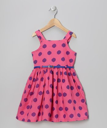 Watermelon & Blue Polka Dot Belted Dress - Toddler & Girls