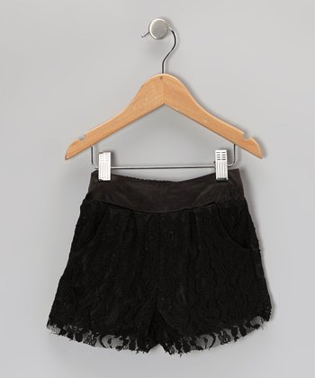 Black Lace Shorts - Toddler & Girls
