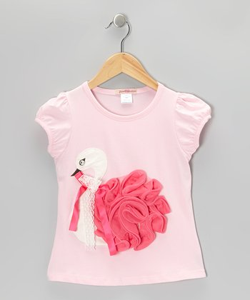 Pink Ruffle Swan Top - Toddler & Girls