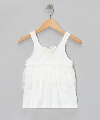 White Lace Ruffle Tank - Toddler & Girls