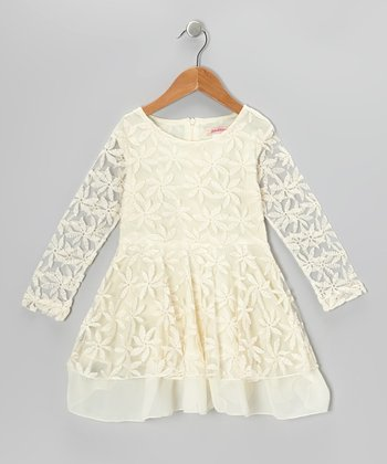 Ivory Embroidered Floral Dress - Toddler & Girls