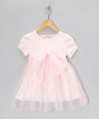Pink Floral Bow Tulle Dress - Toddler & Girls