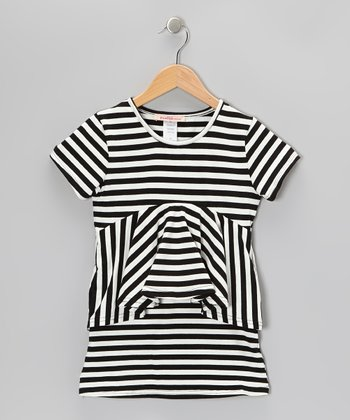 Black & White Stripe Peplum Dress - Toddler