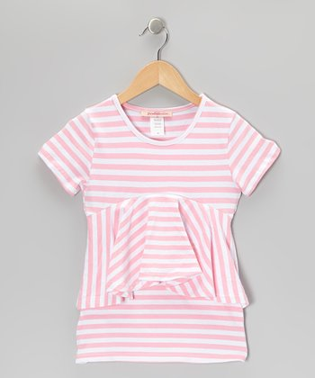 Pink & White Stripe Peplum Dress - Toddler