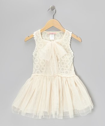 Off-White Embroidered Circle Bow Dress - Toddler & Girls