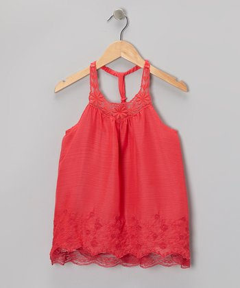 Watermelon Floral Lace Racerback Dress - Toddler & Girls