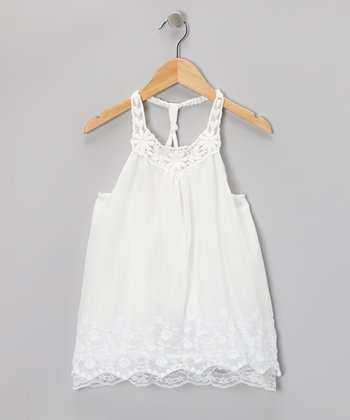 White Floral Lace Racerback Dress - Toddler & Girls