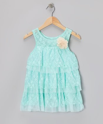 Aqua Lace Tiered Dress - Toddler & Girls