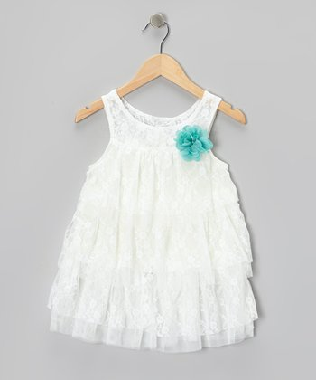 White Lace Tiered Dress - Toddler & Girls