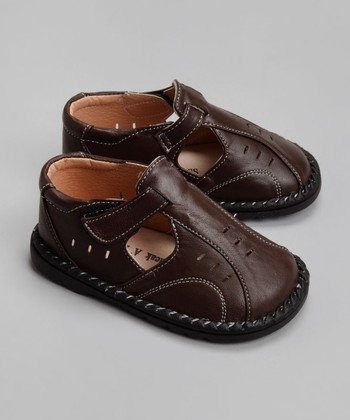 Brown Leather Closed-Toe Sandal - Toddler & Boys