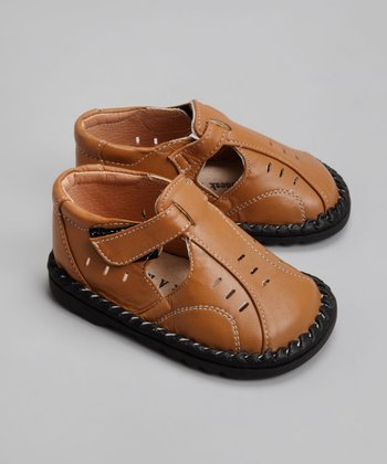 Tan Leather Closed-Toe Sandal - Toddler & Boys