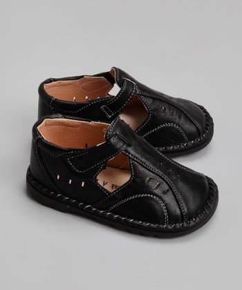 Black Leather Closed-Toe Sandal - Toddler & Boys