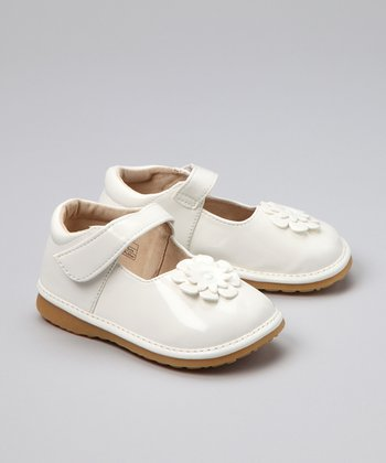White Patent Flower Squeaker Shoe - Toddler & Girls