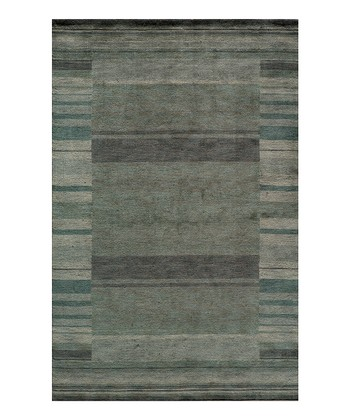 Blue Stripe Border Wool Rug