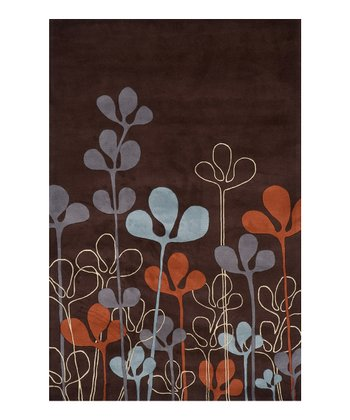 Chocolate & Orange Floral Wool Rug