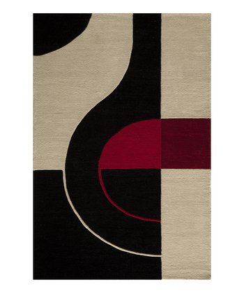 Black & Crimson Wool Area Rug