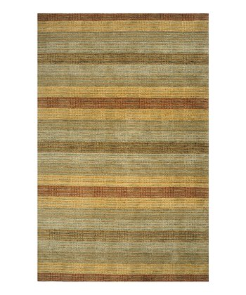 Green & Rust Stripe Wool Rug