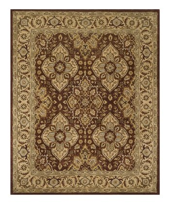 Rust & Gold Pattern Wool Rug
