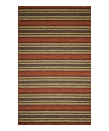 Rust Stripe Wool Rug