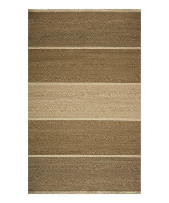 Taupe Stripe Wool Rug