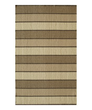 Beige Stripe Wool Rug