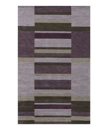 Lilac Stripe Wool Rug