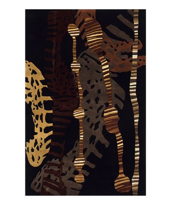 Black & Gold Animal Wool Rug