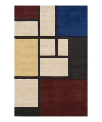 Crimson & Blue Squares Wool Rug