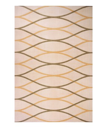 Ivory Waves Wool Rug
