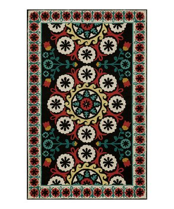 Black & Red Darcia Wool Rug