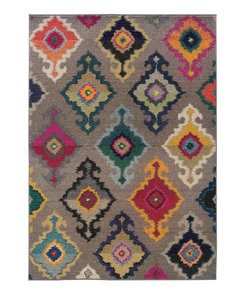 Gray Floral Diamond Prismatic Spectrum Rug