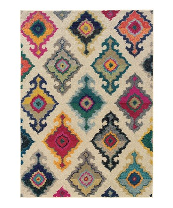 Ivory Floral Diamond Prismatic Spectrum Rug