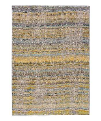 Yellow Stripe Prismatic Spectrum Rug