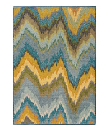Yellow Wave Prismatic Spectrum Rug