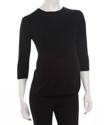 Black Three-Quarter Sleeve Maternity Sweater