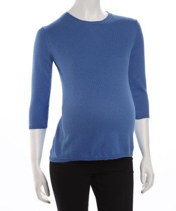 Blue Maternity Three-Quarter Sleeve Sweater