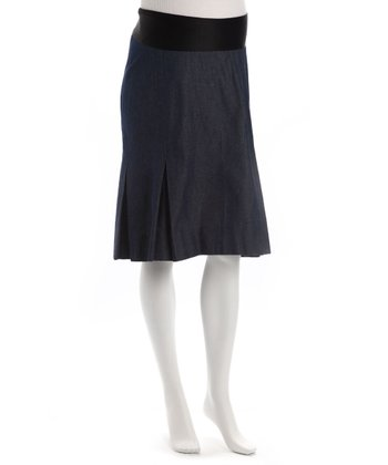 Dark Denim Maternity Pleated Skirt