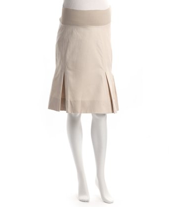 Tan Pleated Maternity Skirt