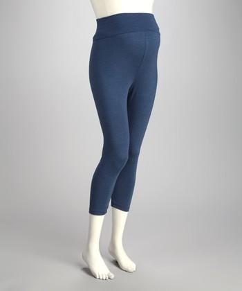 CT Maternity Denim Blue Over-Belly Maternity Capri Leggings - Women