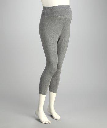 CT Maternity Gray Over-Belly Maternity Capri Leggings - Women