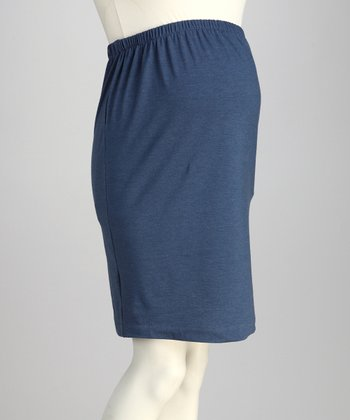 Denim Blue Over-Belly Maternity Pencil Skirt