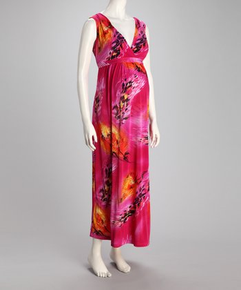 CT Fuchsia Gia Maternity Maxi Dress & Diaper Bag Set
