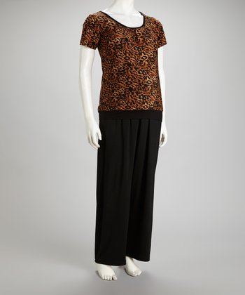 Black Cheetah Addison Maternity Pajama Set