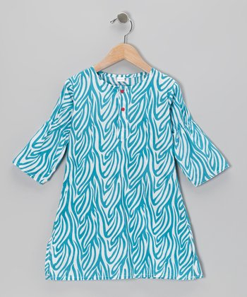 Turquoise & White Zebra Dress - Infant & Toddler